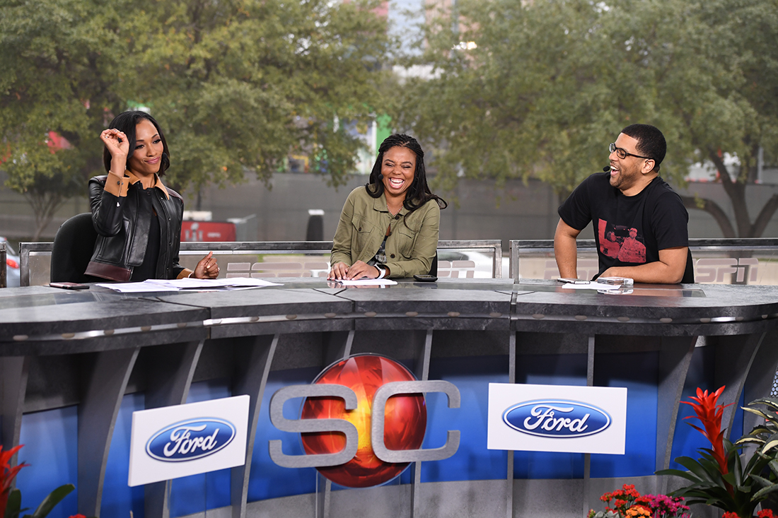 Houston, TX - February 3, 2017 - Downtown: Cari Champion, Jemele Hill and Michael Smith on the set of SportsCenter at the 2017 Super Bowl(Photo by Ben Solomon / ESPN Images)